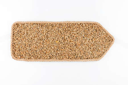 Pointer made of rope, filled with a grain of rye. Isolated on white background