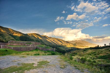 Sunset in the Puca Pucara, Inca ruins at Secret Valey, Cuzco Peru