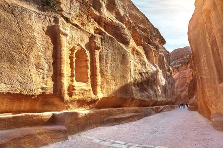 faade: Main entrance to the ancient city of Petra. Southern Jordan Stock Photo