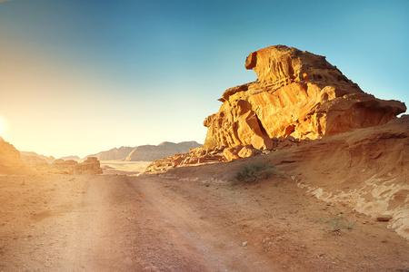 rock formation: Scenic View Of Wadi Rum Against Clear Sky During Sunrise, Arabian Desert, Jordan