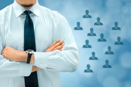 HR managementor marketing customer segmentation concept. Businessman silhouette in bacground. Manager thinks about eemployees or customers.