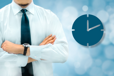 Time management and deadline concept. Businessman silhouette in bacground. Manager thinks about upcoming project deadline.