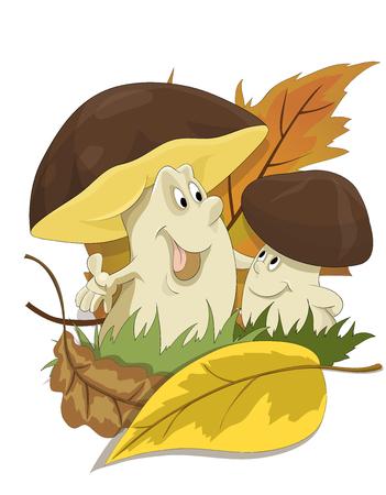 Two happy mushrooms