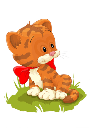 sweet kitty with red bow on grass Vector illustration. Ilustração