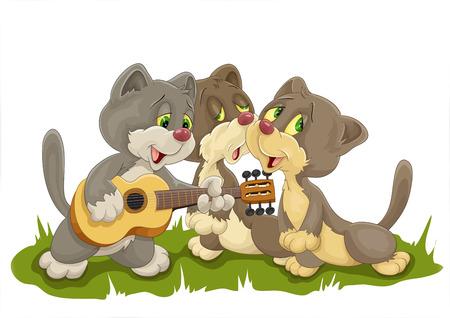 Three singing kittens Vector illustration.