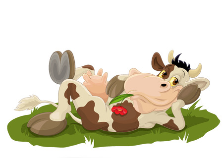 Relaxing cow on grass Vector illustration isolated on white background.