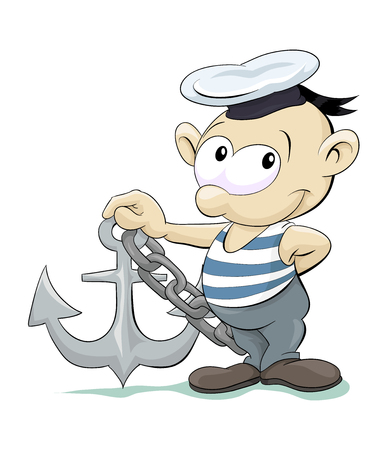 sailor man with anchor Vector illustration isolated on white background.