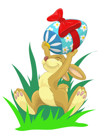Proud easter bunny Vector illustration.