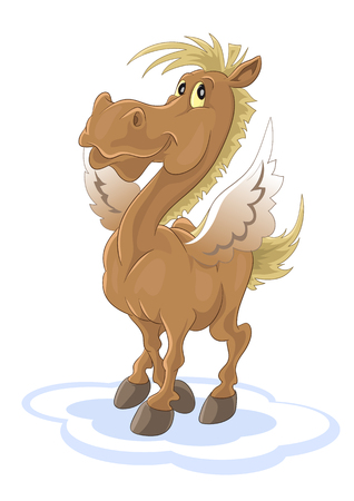 Happy pegasus Vector illustration. Ilustrace