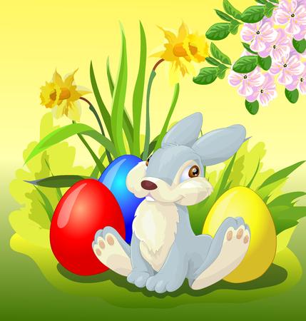 easter bunny on white background. Ilustração