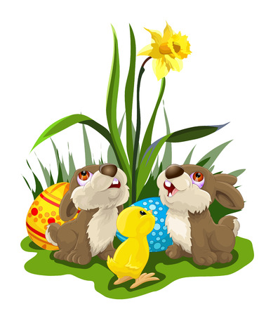 two rabbits and a chick looking at yellow flower, with colorful easter eggs. Vector illustration. Ilustração