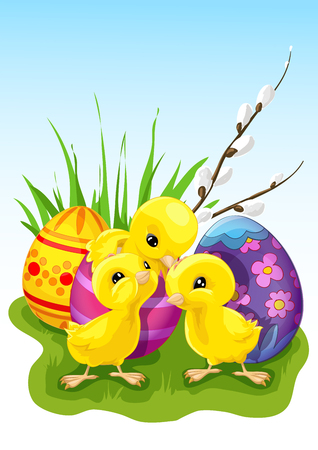 Easter chickens isolated on plain background 向量圖像