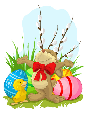 happy Easter bunny poster with colorful with and bunny in the middle Ilustração