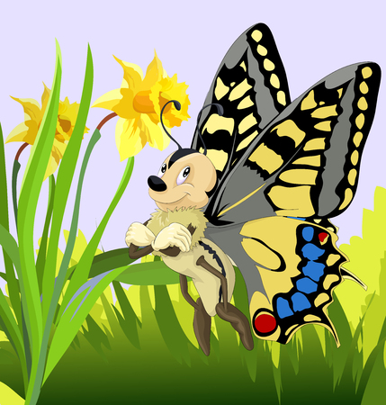 Happy little butterfly with flowers icon. Ilustração