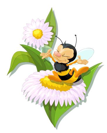 Happy bee on flower illustration.
