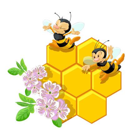 Happy bees and flowers illustration. Ilustração