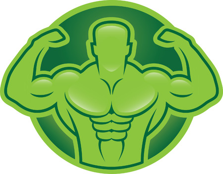 sexy muscular man: Bodybuilder model illustration Illustration