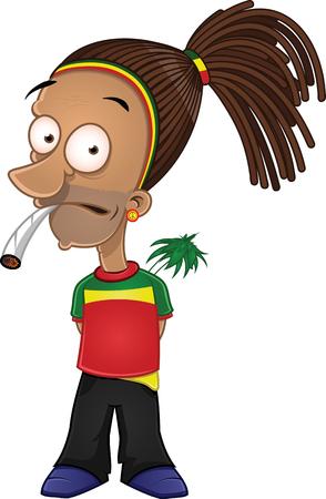 Cartoon rastafarian smoking joint