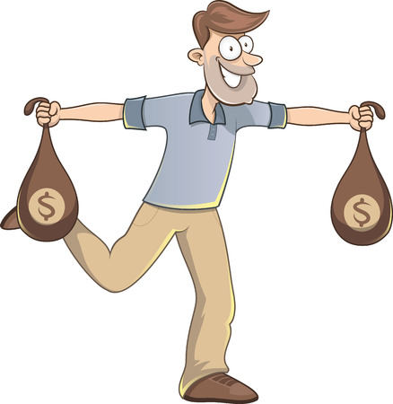 lucky man: Lucky man carrying bags of money