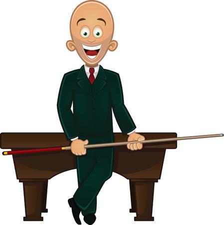 Billiard player holding cue