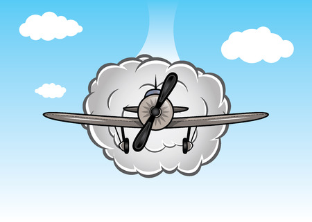 Cartoon biplane on the sky with clouds Vector