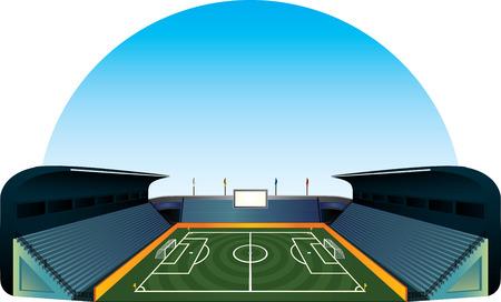 penalty flag: Vector football soccer field stadium illustration
