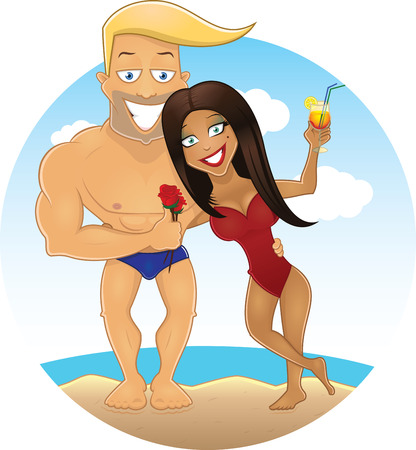 beach breast: Vector cartoon sexy guy and girl on the beach