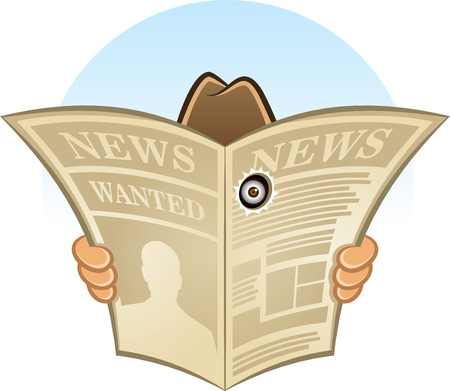 periódicos: Historieta del vector del detective espía secreto escondido detrás de periódico mirando a través de un agujero