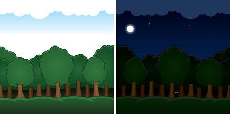 arboles de caricatura: Día del paisaje forestal Vector de dibujos animados y noche