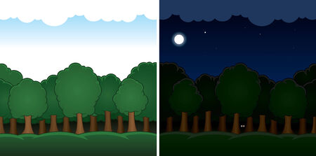 bole: Vector cartoon forest landscape day and night
