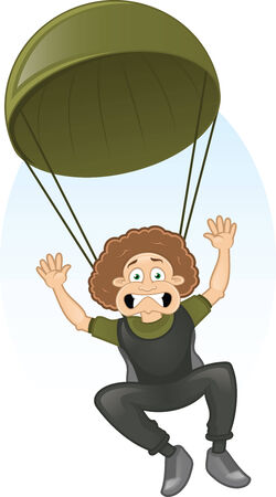 Vector cartoon frightened paratrooper flying to the ground Vector