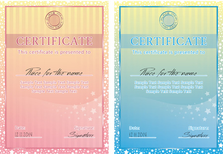 certificate background: Cute vector certificate poster, banner for children s activity Illustration
