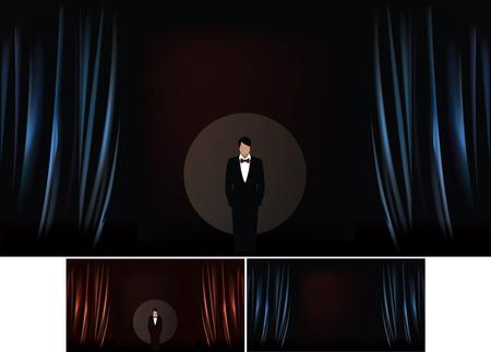lazo negro: Ilustración vectorial de la etapa del teatro con la ilustración realista de cortina, cortinas en color azul y presentador en el círculo de iluminación