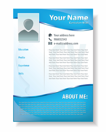 Vector illustration of professional resume template design, attractive CV in blue color