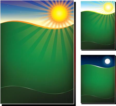 Vector illustration of green field in 3 variations, midnight, morning, night, poster design template