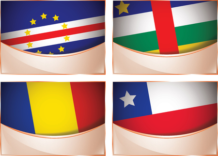 chad: Vector collection of flags, four banner flags illustration, Cape Verde, Central African Republic, Chad, Chile Illustration
