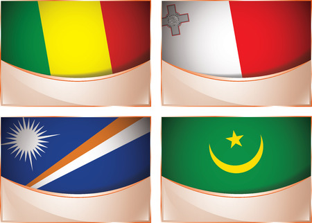 mauritania: Vector collection of flags, four banner flags illustration, Mali, Malta, Marshall Islands, Mauritania