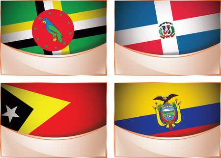 republic of ecuador: Vector collection of flags, four banner flags illustration, Dominica, Dominican Republic, East Timor, Ecuador Illustration