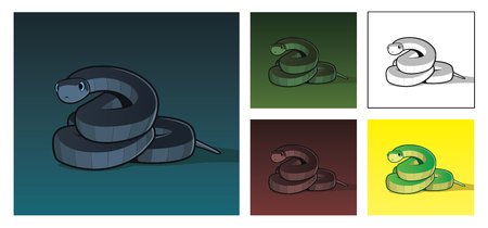 Vector realistic illustration of scary dark snake in different colors
