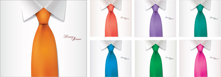 black tie: 7 color variables of shirt and tie illustration vector Illustration