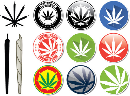 marijuana plant: Vector set of marijuana and cannabis buttons icons logos
