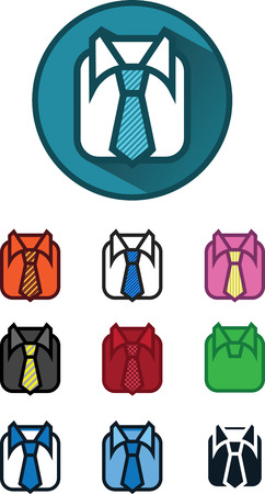 10 icon variables shirt and tie illustration circle button vector Vector
