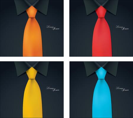4 color variables of shirt and tie illustration black shirt vector Illusztráció