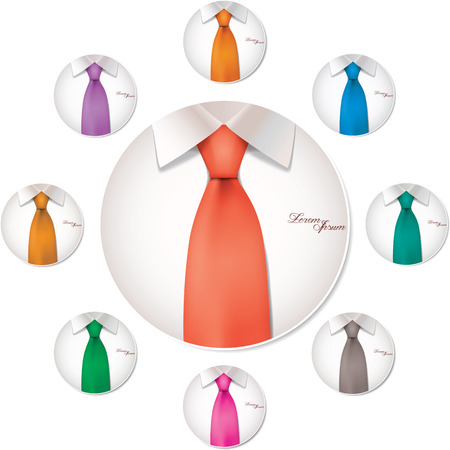 Nine color variables of shirt and tie illustration circle button icon vector Vector