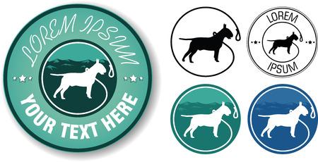toros bravos: Vector caminar perros de dise�o de logotipo en cinco variables