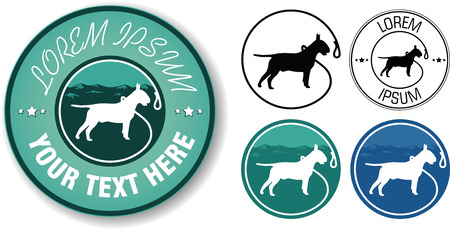 dog outline: Vector walking dogs logo design in five variables
