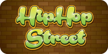 hop: Vector graffiti illustration hip hop street words Illustration