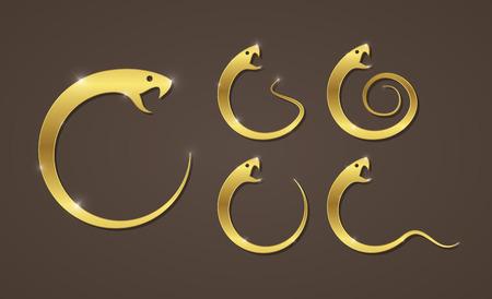 deadly danger sign: Vector illustration of golden snake app icon business logo