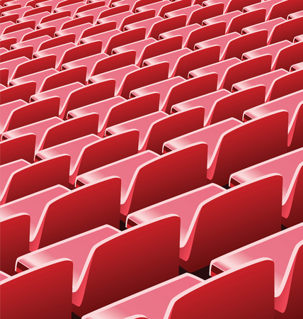 Vector realistic illustration of empty red seats in a soccer stadium Ilustração