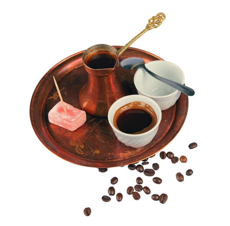traditional cups of coffee on a tray top angle